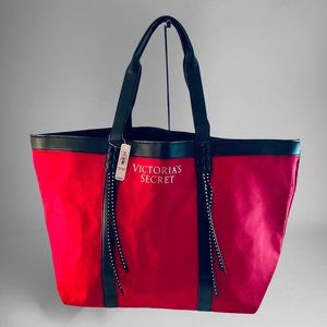 Victoria's Secret Red Canvas Tote Braided Large